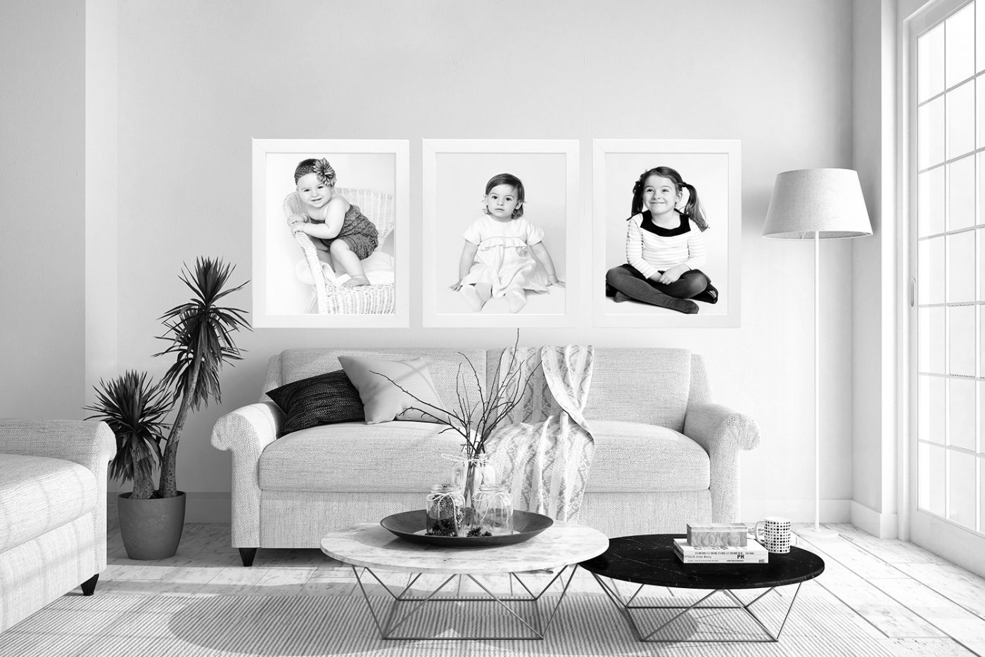 modern wall art in the living room black and white