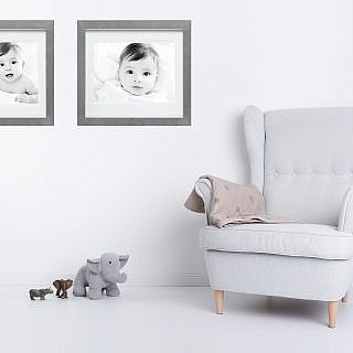 baby portraits fine art print silver frame in kids bedroom