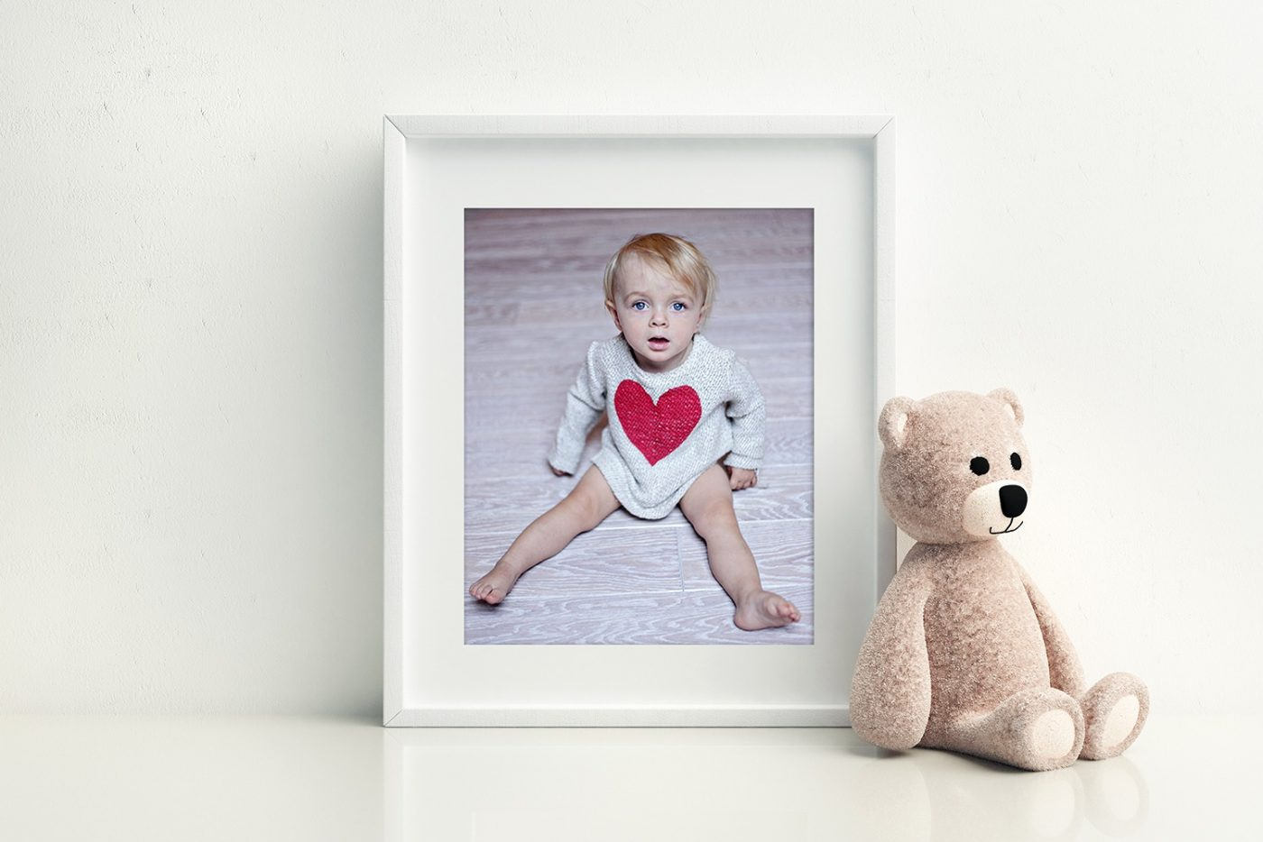 white frame with child fine art print