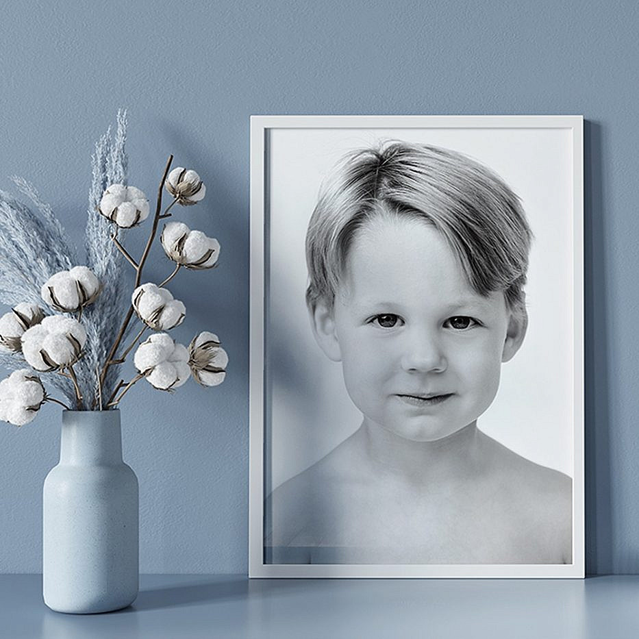 white frame with child photo